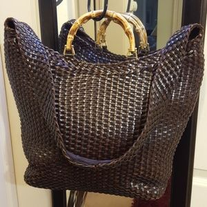 Gucci Vintage Leather Woven Tote with Bamboo